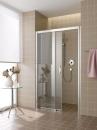 Atea drzwi prysznicowe 2-częściowe z polem stałym po lewej stronie bezprogowe 140 srebro / szkło z powłoką