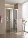 Atea drzwi prysznicowe 2-częściowe z polem stałym po prawej stronie bezprogowe 150 srebro / szkło z powłoką