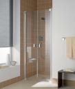 Kermi Raya drzwi wahadłowe dwuskrzydłowe profil srebro szkło przezroczyste z powłoką 80 cm
