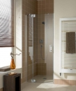 Kermi Filia XP drzwi prysznicowe do wnęki lewe 130 cm zawias srebro wysoki połysk, szkło przezroczyste z powłoką