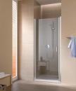 Cada XS drzwi wahadłowe jednoskrzydłowe lewe 75 profil srebro wysoki połysk, szkło hartowane z powłoką CadaClean