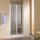 Cada XS drzwi wahadłowe dwuskrzydłowe 80 profil srebro wysoki połysk, szkło hartowane z powłoką CadaClean