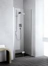 Kermi Liga drzwi wahadłowo-składane prawe 120 szkło hartowane z powłoką Kermi Clean profil srebro wysoki połysk  LI2SR12020VPK